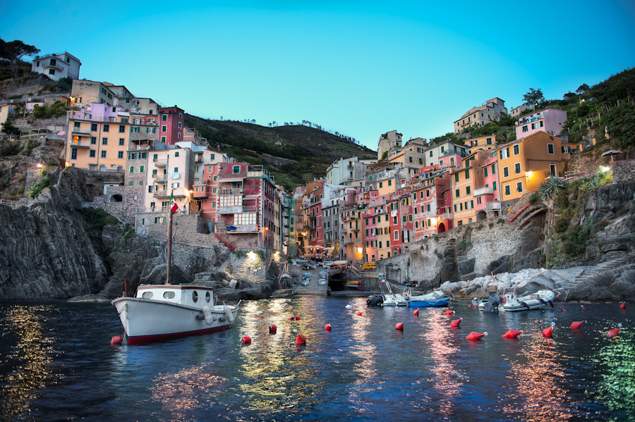 HDR After Image - Riomaggiore Dusk - Cinque Terre Italy