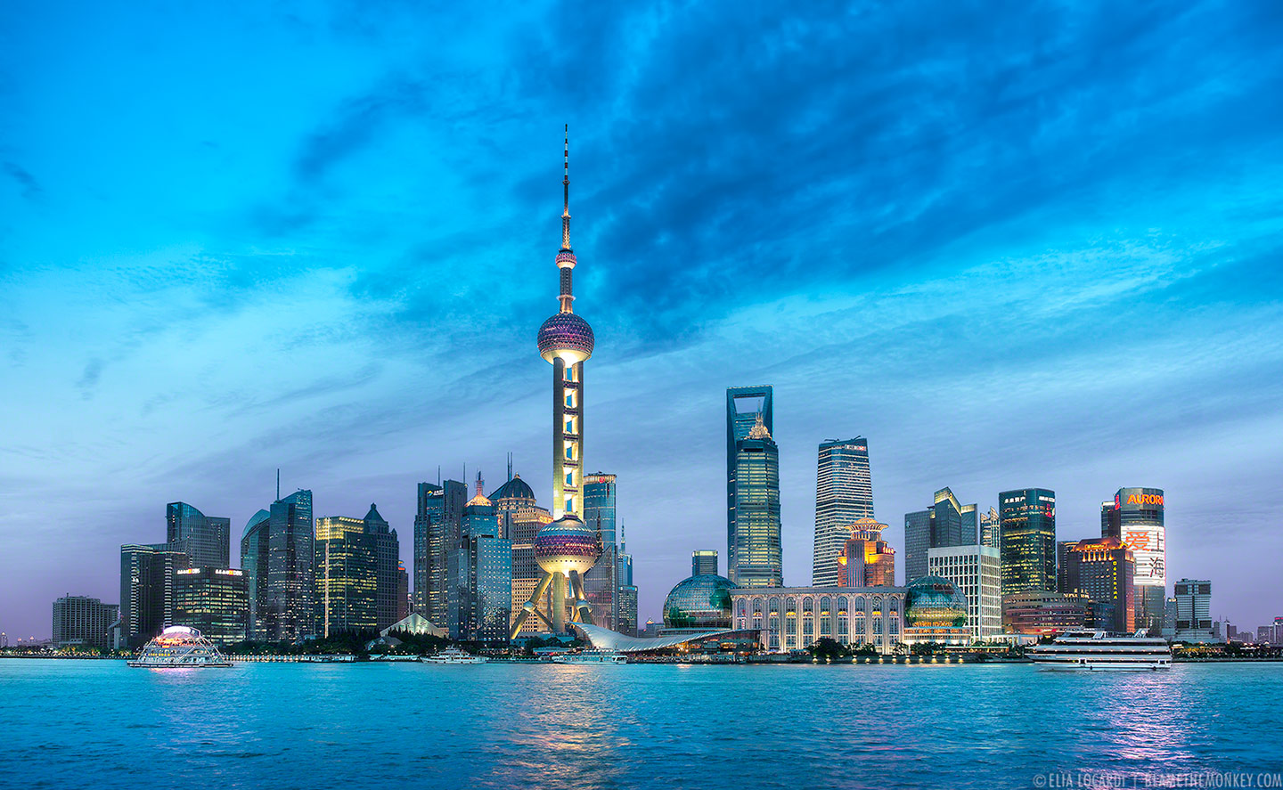 A stunning skyline view of Shanghai China - A true spectacle of light.