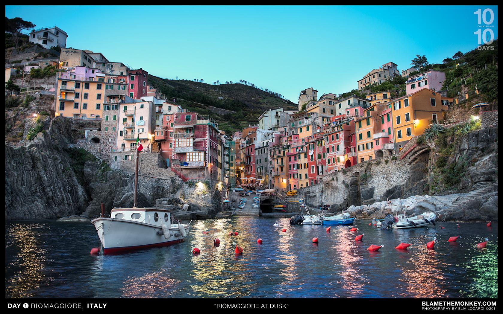 Riomaggiore Italy  city pictures gallery : Riomaggiore At Dusk Riomaggiore, Cinque Terre, Italy