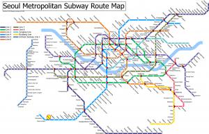 Seoul South Korea Subway or Metro Map