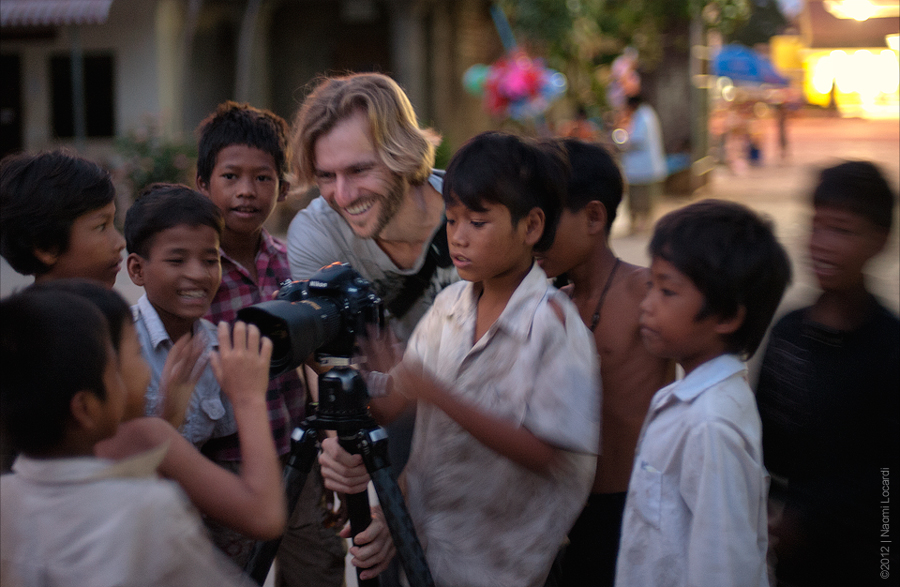 Elia with the children in Cambodia during a charity workshop in 2012