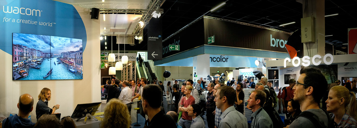 Elia Locardi presenting at the Wacom booth Photokina 2014
