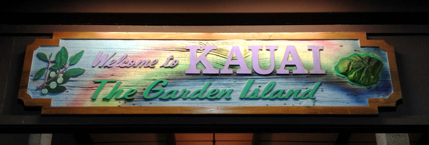 Kauai Hawaii welcome sign