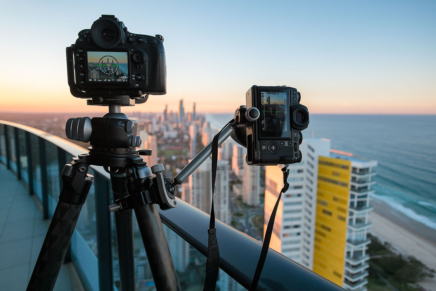 Dual Camera Set up shooting Surfers Paradise from our balcony at Peppers Broadbeach Hotel.