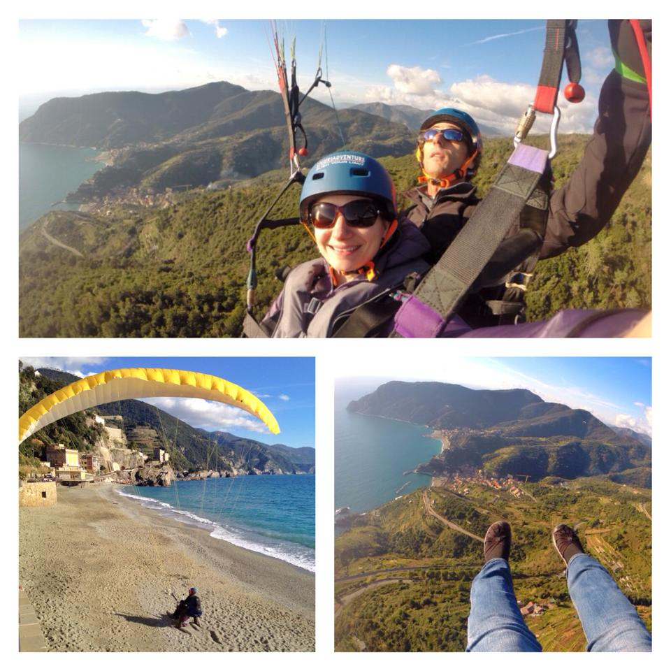 Naomi, Lee and Patrick took a parasailing flight over Cinque Terre.