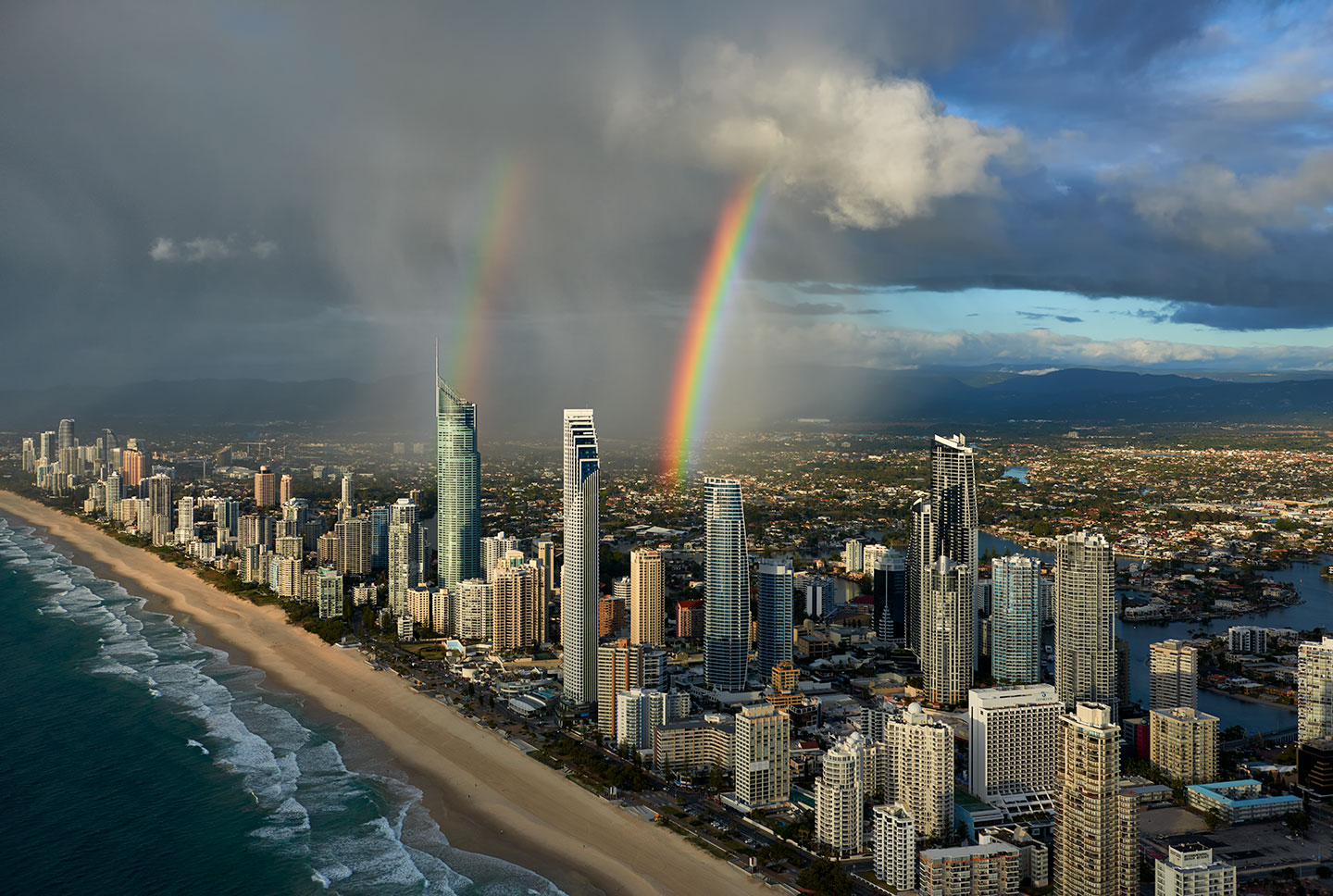 "©2014 Elia Locardi - All Rights Reserved. ""Double Rainbow over Surfers Paradise"""