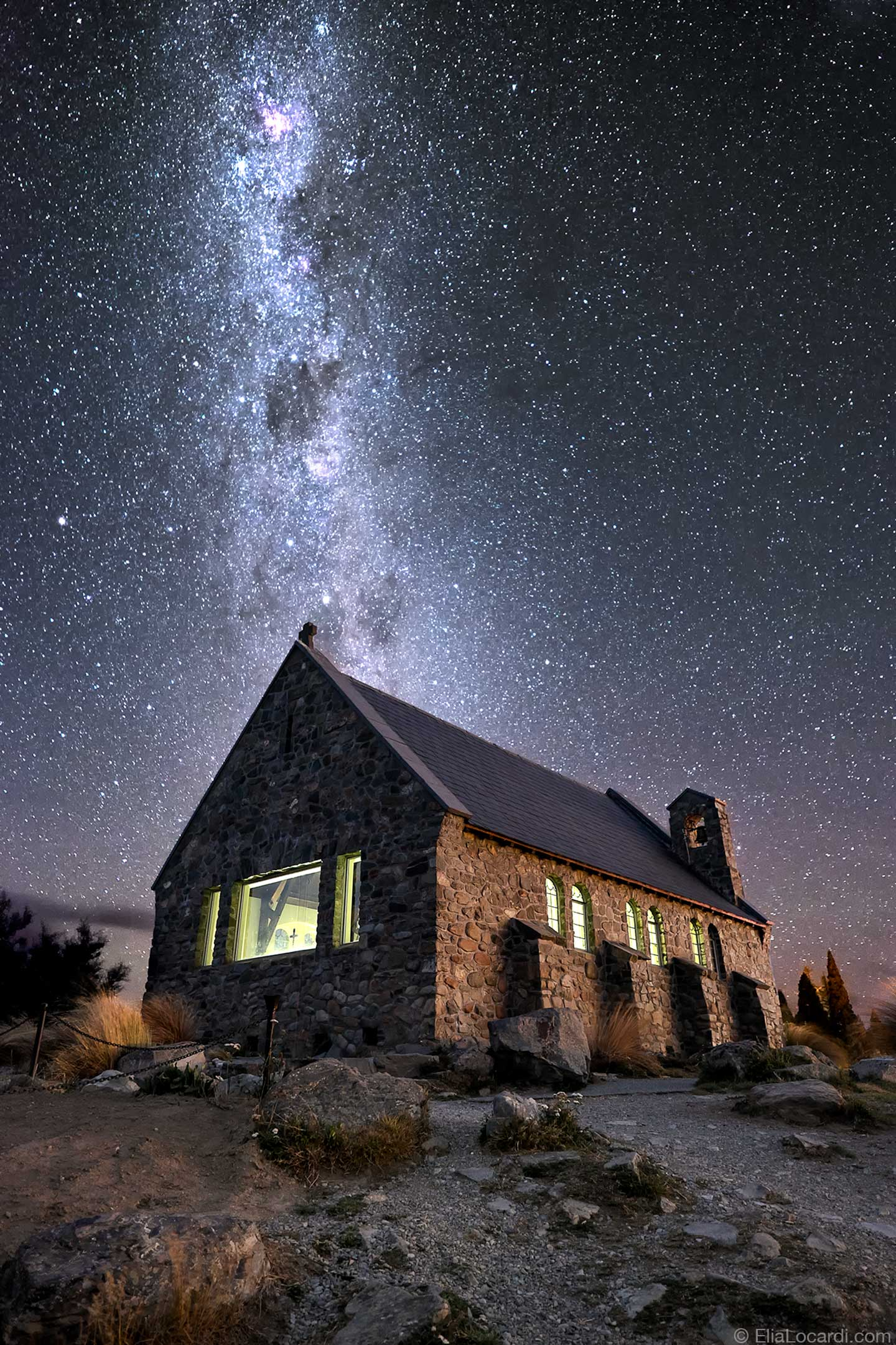 The Milky Way Galaxy dances above the Churh of the Good Shepherd in New Zealand