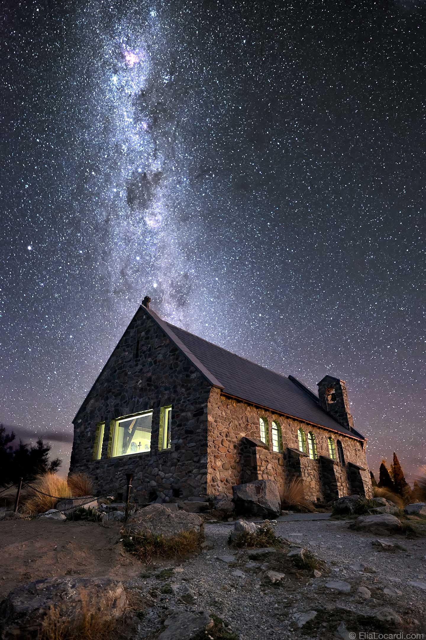 The Milky Way Galaxy dances above the Churh of the Good Shepherd in New Zealand