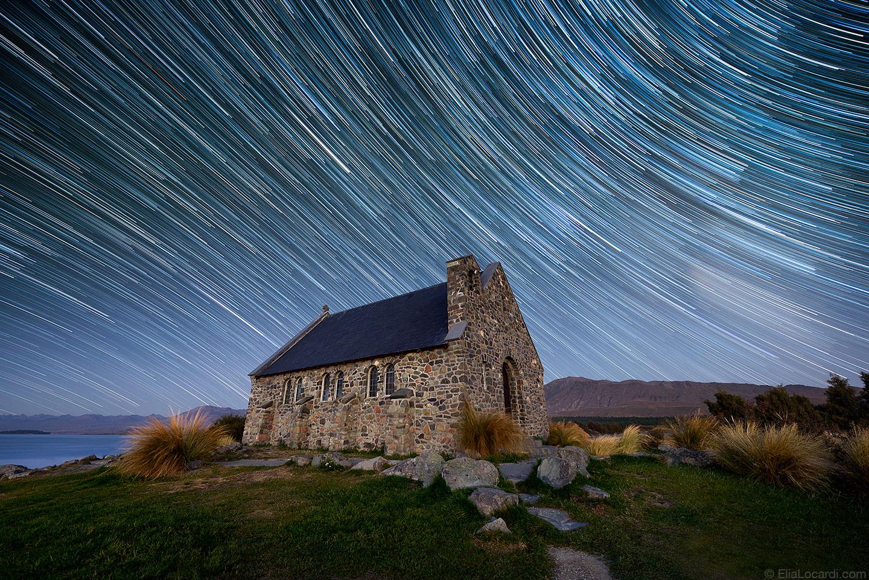 Millions of beautiful stars streak across the clear sky in Lake Tekapo, New Zealand