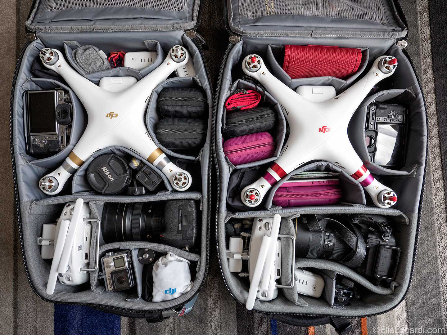 (His and hers travel solutions for the Phantom 3 Professionals.)