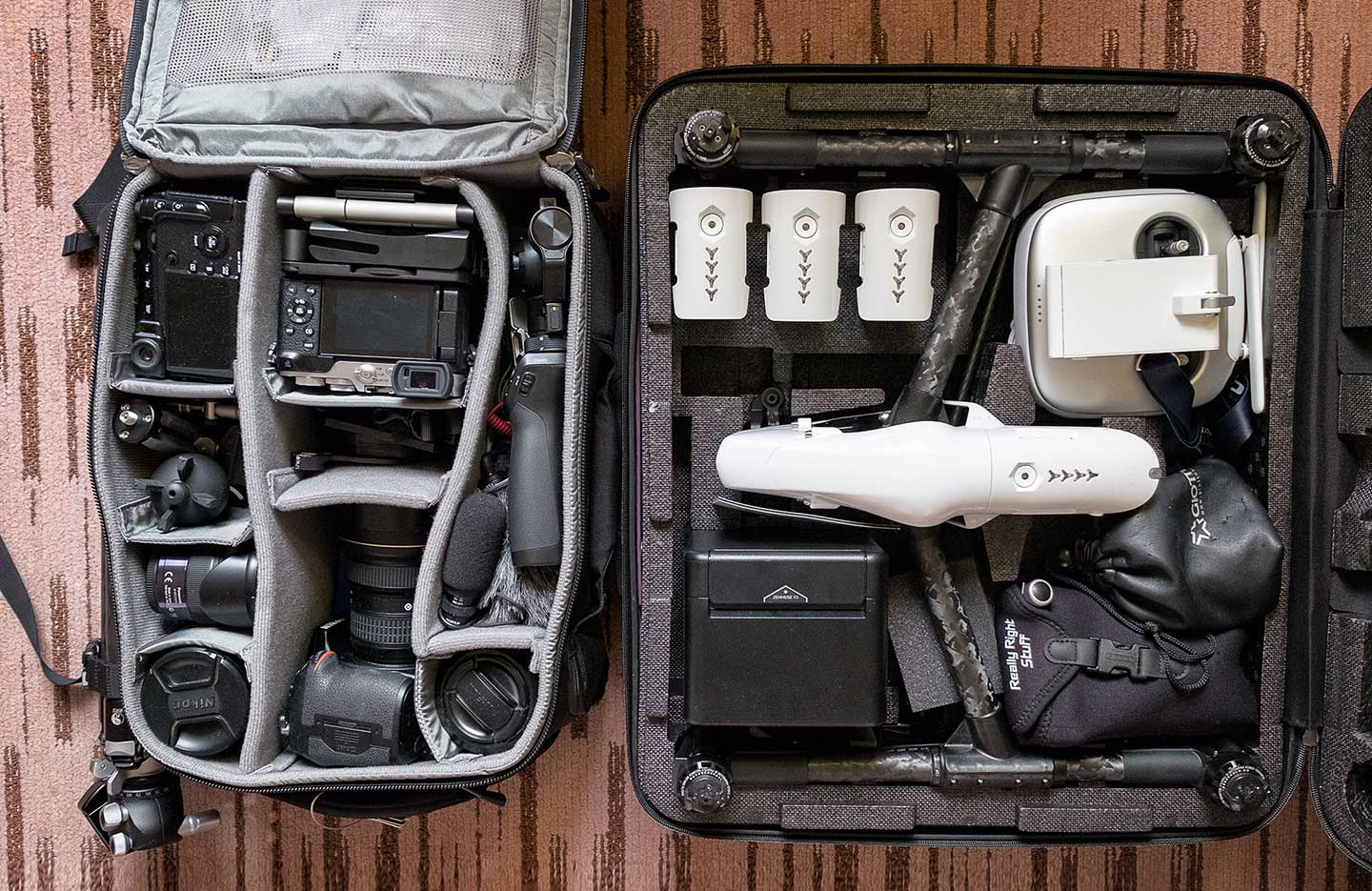 (A true photography and film makers toolkit packed into two bags.)